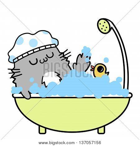 Cats' Memories: Take a Happy Bath. Creative Idea, Innovative art, Concept Illustration, Greeting Card, Cartoon Style Artwork