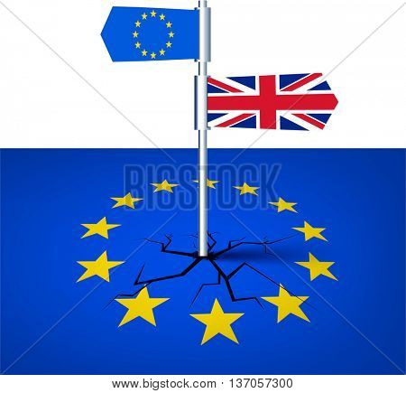 Brexit background with British and European Union flags. Vector illustration.
