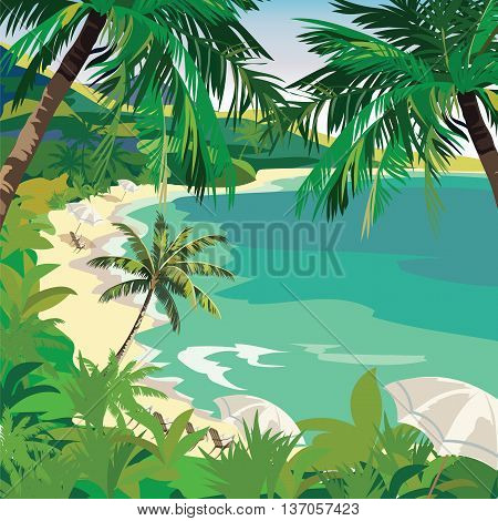 Summer Beach with lounge chairs under Tropical Palm trees. Vector background card