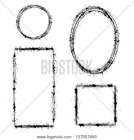 Set of Different Ink Frames Isolated on White Background. Distressed Dirty Shapes