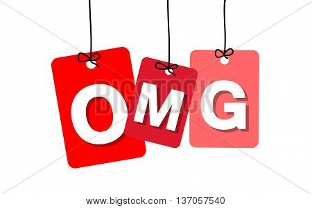 Vector colorful hanging cardboard. Tags - omg on white background