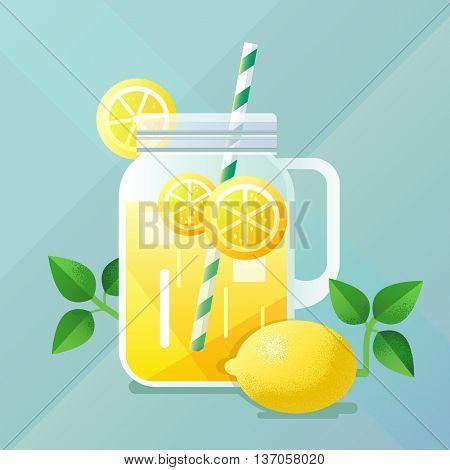 Lemonade illustration with lemon and ice, flat design