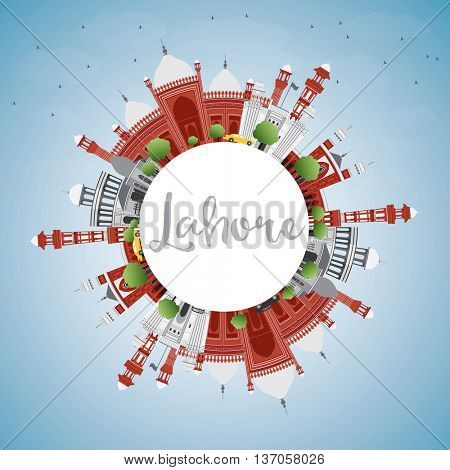 Lahore Skyline with Color Landmarks, Blue Sky and Copy Space. Business Travel and Tourism Concept with Historic Buildings. Image for Presentation Banner Placard and Web.