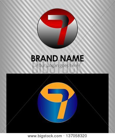 Number seven 7 logo icon template template design vector