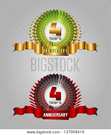 4 year birthday celebration, 4th anniversaryset template design vector