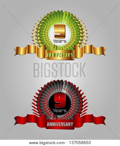 Anniversary label set template design element vector