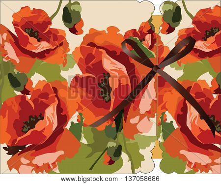Watercolor poppy flowers Card Vector. Invitation card Traditional Vintage Retro style