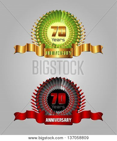 Anniversary with laurel wreath, 70 year template design vector