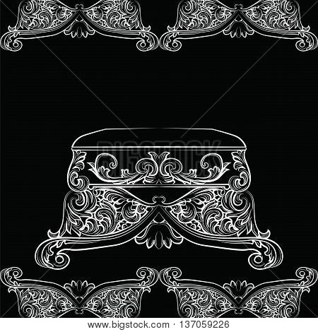 Royal Baroque Vector Classic chair furniture with Luxury Acanthus ornaments. Vector sketch furniture black background