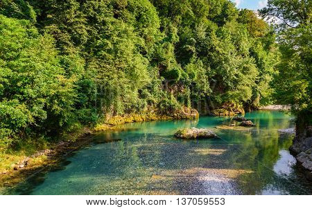 A wonderful view of the famous river Serio is located in the Lombardy region in the Seriana Valley Italy.
