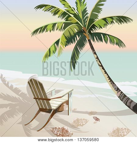 Vintage beautiful Sunset Seaside Tropical card. Lounge chair under the shadow of a Palm tree. Summer beach Vector background