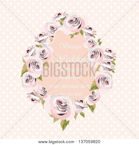 Watercolor pink Roses Flowers frame on retro polka dots background. Vintage Watercolor Greeting Card Blooming Roses. Vector Watercolor Roses for wedding invitation anniversary celebration events