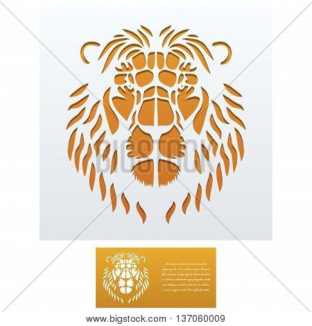 Envelope template with Lion Head For Laser cutting. Square format. Die of wedding and invitation card. Vector Illustration isolated on white background.