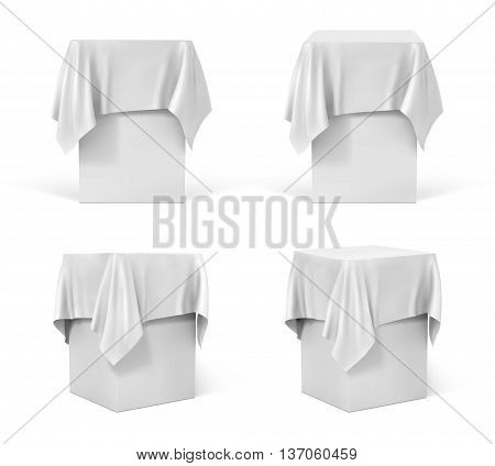 Presentation pedestal covered with a white cloth, vector illustration.