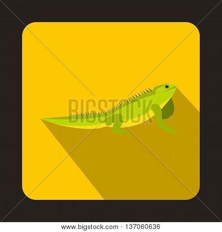 Iguana icon in flat style with long shadow. Reptiles symbol