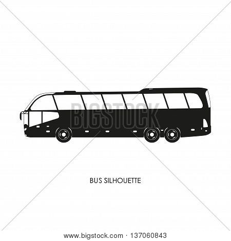 Bus black silhouette on a white background. Vector illustration