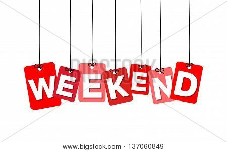 Vector colorful hanging cardboard. Tags - weekend on white background
