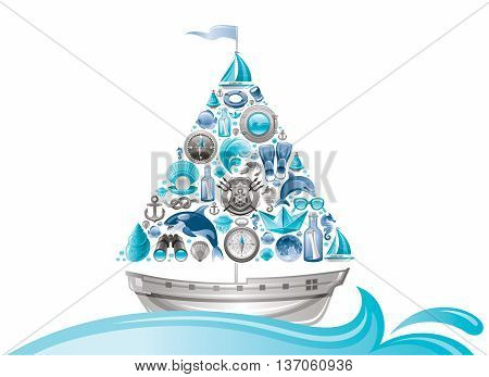 Sea summer travel design with sail boat and icon set. Yachting coat of arms, compass rose, binoculars, killer whale, porthole, message in bottle, yacht, sailing ship, moon, lifebuoy