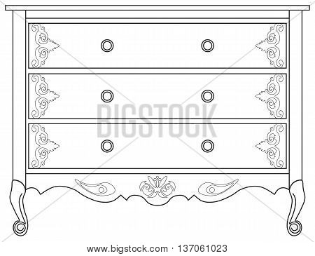 Classic commode with damask royal ornaments. Vector