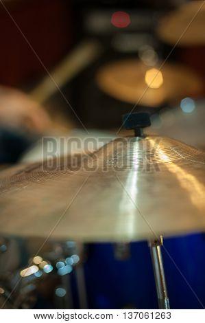 Crash Cymbal Detail Golden Metal Drum