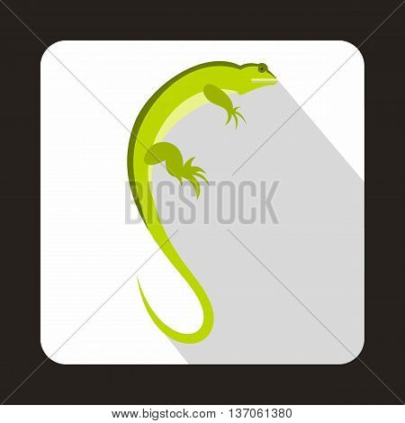 Long iguana icon in flat style with long shadow. Reptiles symbol