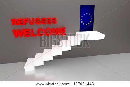 Concept image for Refugees Welcome to EU. 3D rendering.