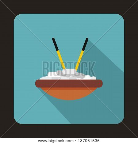 Bowl of rice with chopsticks icon in flat style with long shadow. Food and utensils symbol