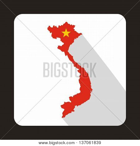 Map of Vietnam icon in flat style with long shadow. State symbol