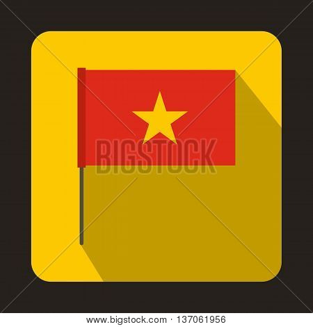 Flag of Vietnam icon in flat style with long shadow. State symbol