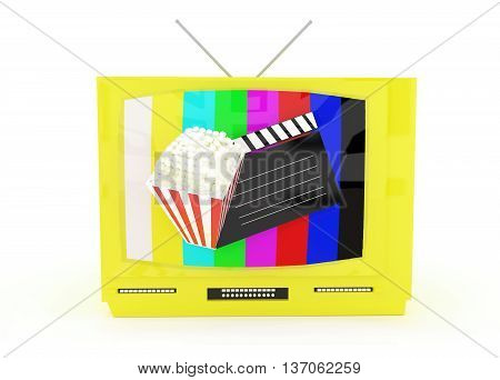 3d television with antenna , a clapboard and popcorn projected from the televison screen concept