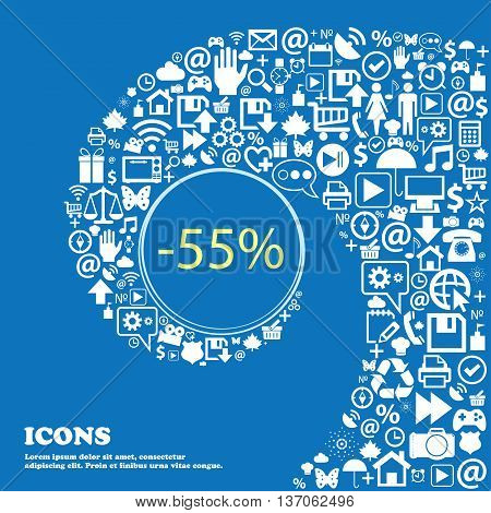 55 Percent Discount Sign Icon. Sale Symbol. Special Offer Label . Nice Set Of Beautiful Icons Twiste