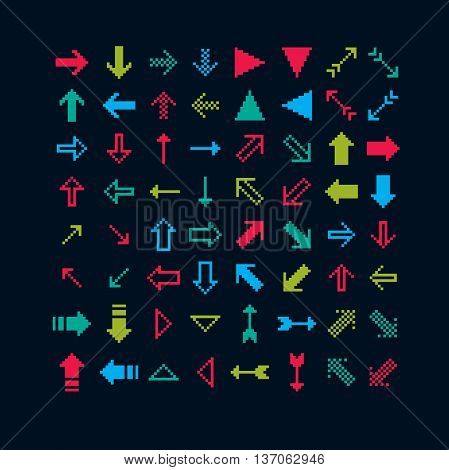 Set of vector retro cursor signs made in pixel art style. Simplistic arrows pointing at different directions geometric pixilated symbols.