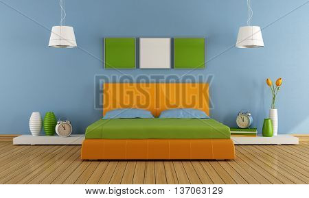 Contemporary bedroom with colorful double bed - 3d rendering