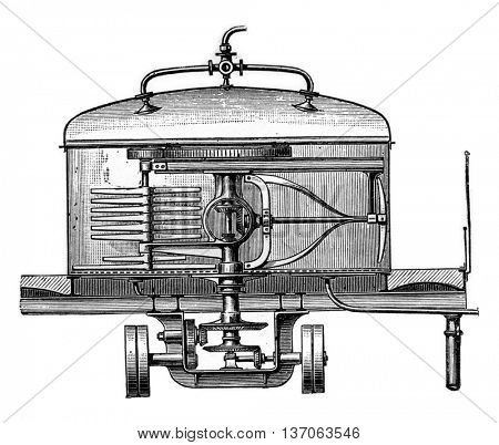 Tank material with steam propeller, vintage engraved illustration. Industrial encyclopedia E.-O. Lami - 1875.