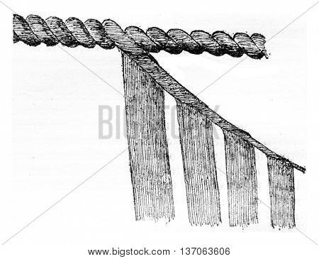 Cable loronne, vintage engraved illustration. Industrial encyclopedia E.-O. Lami - 1875.