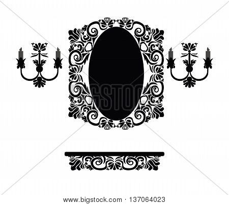 Vintage set of royal classic ornamented table decorated mirror frame and wall lamps. Vector