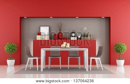 Red dining room with niche and minimalist table - 3d rendering