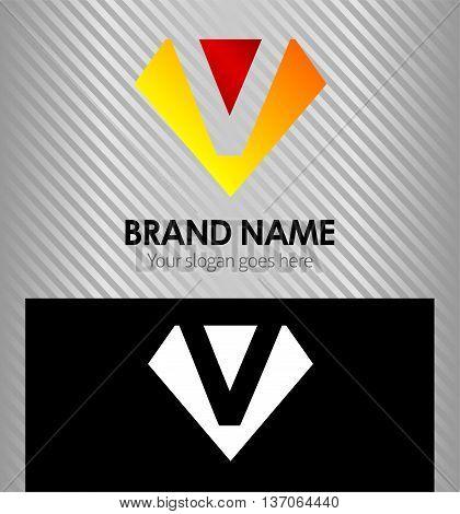 Letter V logo vector alphabet shape, concept type as logo v