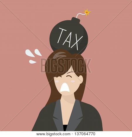 Business woman with tax bomb on her head. Business risk concept