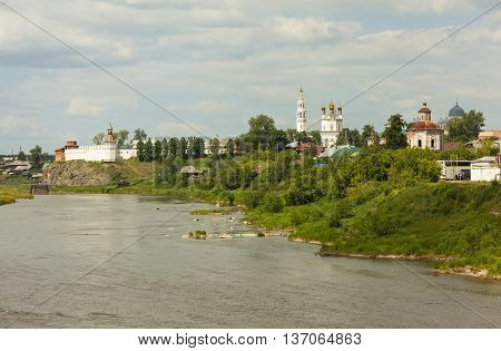 The Kremlin, Troitsky Cathedral, Church of the Intercession, and Holy Cross Cathedral. Verkhoturye. Russia.