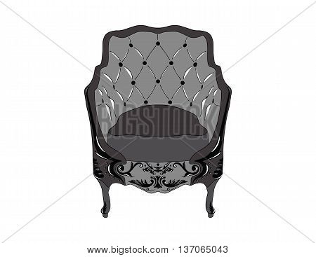 Elegant Baroque luxury ornamented armchair with soft fabric. Vector sketch