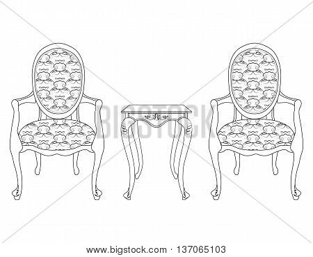 Elegant Baroque luxury ornamented furniture and coffee table. Vector sketch