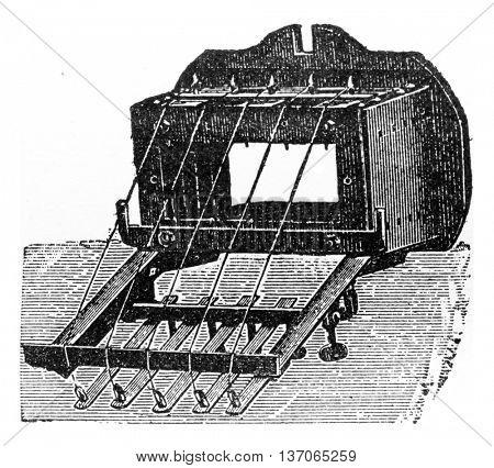 Spinneret, vintage engraved illustration. Industrial encyclopedia E.-O. Lami - 1875.
