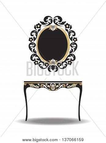 Vintage Baroque Furniture Table and Mirror frame. Vector Elegant Gold ornamented luxury furniture