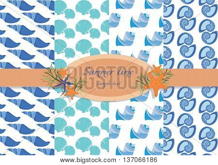 Vector Shell pattern set. Summer shells patterns for backgrounds cards textures