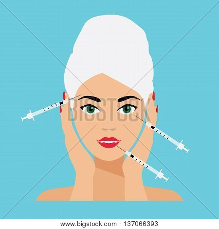 Face Care and Treatment Flat Vector Illustration. Mesotherapy and Injections