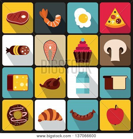 Food icons set in flat style vector illustration
