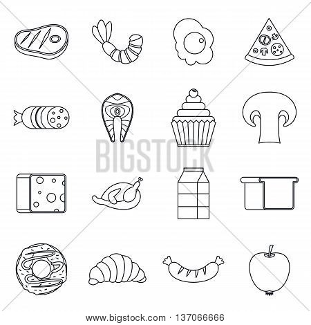 Food icons set in outline style isolated vector illustration
