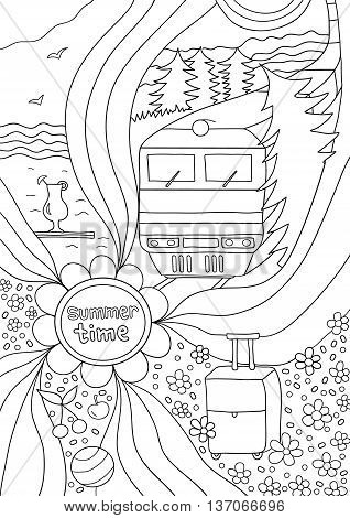 Time to relax. coloring page for adults, anti-stress, train travel through the vast fields and forests, a trip to the sea. Coloring book fo adults. Black and white drawing of a hand, vector