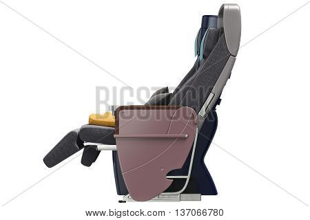 Passenger aircraft seats with leather armrests, side view. 3D graphic